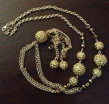 39781b8f99c8 Flapper sautoir Collar Art Deco Oro Tono Cadena Borlas Y Acorn Bobbles