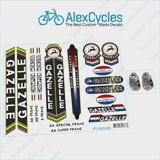 Gazelle Bicycle Black Frame Restoration High Quality Decals + Free Gift Stickers