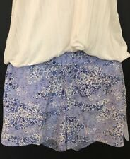 Equipment Shorts Blue Floral Silk Elastic Waist Size Xs