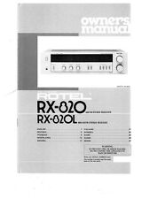 Rotel RX-820 Receiver Owners Instruction Manual