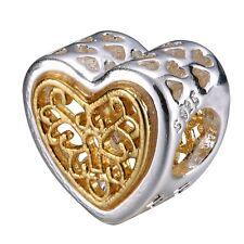 Vintage Patterns Openwork Silver Heart Bead Charm Fit Diy 925 Sterling Bracelet