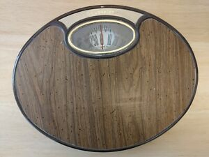 COUNSELOR Vintage Brown Wood Panel Bathroom Weight Scale EXCELLENT CONDITION 😊