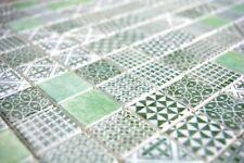 Mosaïque carreau rétro ECO recyclé VERRE vert patchwork mur 145-P-60_b |1 plaque