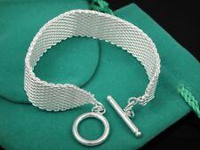 Cool 925Sterling Silver Wide Mesh T-O Clasp Men Women Cuff Bracelet 8inch FH004