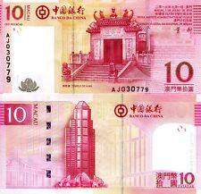 Macao 10 Patacas Banknote World Paper Money Unc Currency Pick p108b 2013 (Macau)