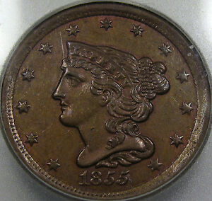 1855 Braided Hair Half Cent BU ICG MS-61 BN... So Very Nice, and Orginial, Neat!