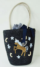 Retro Unicorn Straw Basket Bag With Gold Handles Beach Summer Festival Shopper