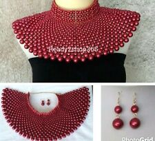 Red Pink Beaded Bib Egyptian Massive Pearl Necklace Huge Armor Statement Collar