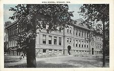 Linen Postcard Unposted High School, Stanley WI Chippewa County