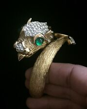 Signed Crown TRIFARI Andre Boeuf Emerald  Dragon Clamper Bracelet Something Wild