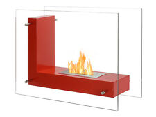 Vitrum L Red - Ignis Ventless Freestanding Bio Ethanol Fireplace