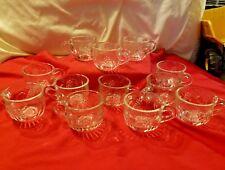 Vintage Anchor Hocking Punch Bowl Cups Mugs Grape Fruit Design Set Of 12