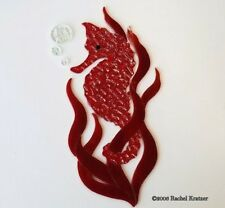 RED SEAHORSE Precut Stained Glass Art Mosaic Inlay Kit Seascape Coastal Tile