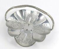 Vintage Aluminum Tray Dish Basket Cut-out Work Floral Design Hammered