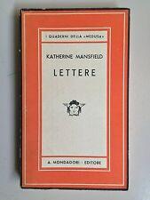 Lettere di Katherine Mansfield I quaderni della medusa 12 Mondadori 1942 1a ed