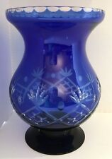 Bohemian Glass Vase, Blue Cut-to-Clear, Large, Footed, 10 1/2 inches High