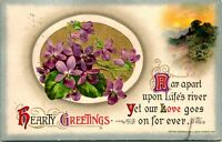 Vintage 1913 John Winsch Postcard - Hearty Greetings - Gilded & Embossed