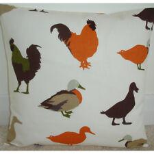 "14"" Cushion Cover Ducks Roosters Cockrels Orange Brown Green Farmyard Farm"