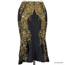 Alexander McQueen Resort Collection Black Gold Embroidered Flared Hem Skirt IT38