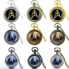 Vintage Star Trek Badge Pocket Watch Quartz Antique Necklace Pendant Retro Gift