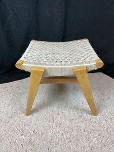 Vintage Mid-Century Modern Jens Risom ?Knoll? Footstool Sitting Stool Woven Rope