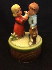 Vintage Ceramic Wind Up Musical Figurine-Enchanting Melody-Boy Girl & Dove-Tree