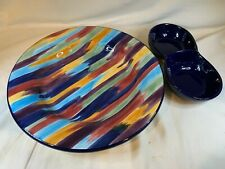 "Tabletops Unlimited Madrid Brush Stroke 13"" Serving Tray Platter + Dip c797"