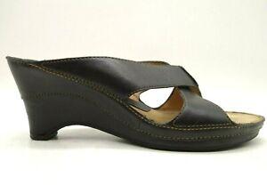 Clarks Artisan Black Leather Slide Heel Dress Casual Sandals Shoes Women's 8 M