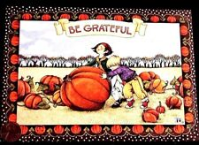 Mary Engelbreit Boy Girl Giant Pumpkin Grateful - Thanksgiving Greeting Card New