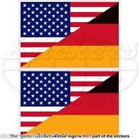 "USA United States America & GERMANY American-German Flag Stickers,3"" (75mm) x2"