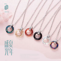 Xmas 925 Sterling Silver Simple Circle Rainbow Austrian crystal Necklace Pendant