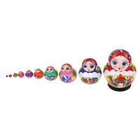 Girl Russian Nesting Doll Wood Babushka Matryoshka Stacking Dolls Set 10PCS
