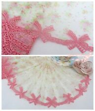 """9""""*1Y Embroidered Floral Tulle Lace Trim~White+Coral Pink+Green~Spring Gift~"""