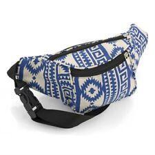 BLUE AZTEC DESIGN BUM BAG MONEY WAIST BELT HOLIDAY WALLET POUCHES TRAVEL