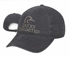 NEW Ducks Unlimited Faded Black w/ embroidered Gray Logos Duck Hunting Hat