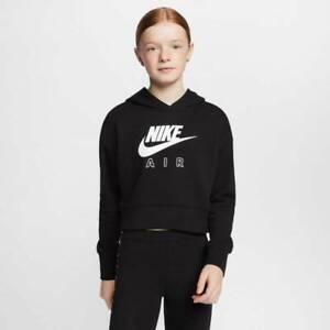 Nike Air Girls Cropped French Hoodie Black Crop Top Teens 13yr XL CZ6234-010