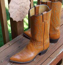 Classic 60's Justin Tan Cowboy Boots - Men's 7D  Vintage Excellent Cond Snip Toe