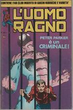 L'UOMO RAGNO seconda II 2a SERIE CORNO N.58 PETER PARKER E' UN CRIMINALE !  cap