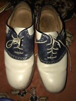 Men's Shoes, Size 10m, Florshiem, Two Tone, Blue, Cream, Saddle Oxfords