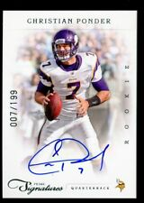 1/1 CHRISTIAN PONDER 2011 PANINI PRIME SIGNATURES AUTO RC JERSEY NUMBER #D 7/199