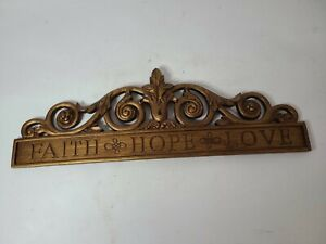 """Resin Inspirational Antique Brown Hand Carved Wood Crown Wall Plaque 6.5""""x19"""""""