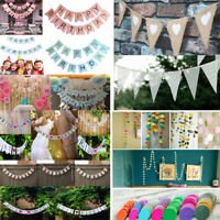 Birthday Wedding Party Bunting Banner Flags Garland Photo Props Hanging Decor