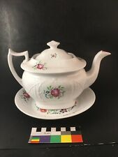 Antique English Porcelain Teapot &Stand Osier Wicker Basket Roses New Hall-Style