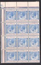 CYPRUS KGV S.G 109 1924 - 28 23/4pi MARGINAL CORNER BLOCK OF 12 MNH
