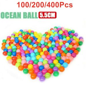 1-400 Ball Pit Balls Play Kids Plastic Baby Ocean Soft Toy Colourful Playpen Fun