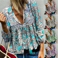 Women Boho Floral Print Top Casual Loose V Neck Blouse Long Sleeve Beach T Shirt