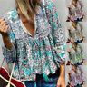 Women Boho Floral Print Top Casual Loose V Neck Blouse Long Sleeve Beach T Shirt
