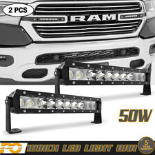 10inch DOT Approved 50W LED Light Bar Hidden Grille Fit Dodge Ram 1500 2500 3500