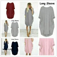 Womens Pocket Long Sleeve Oversized Stretch Loose Ladies Casual Tops Mini Dress