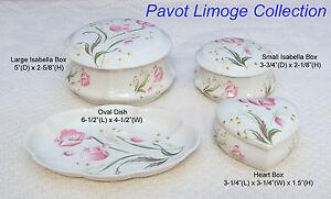 "French Limoge ""Pavot"" Isabella Box, Trinket Box, Oval Dish, Heart"